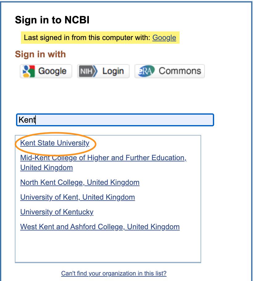 Sign up for My NCBI through FlashLine