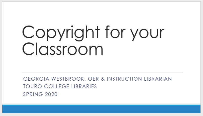 screenshot from copyright for your classroom webinar