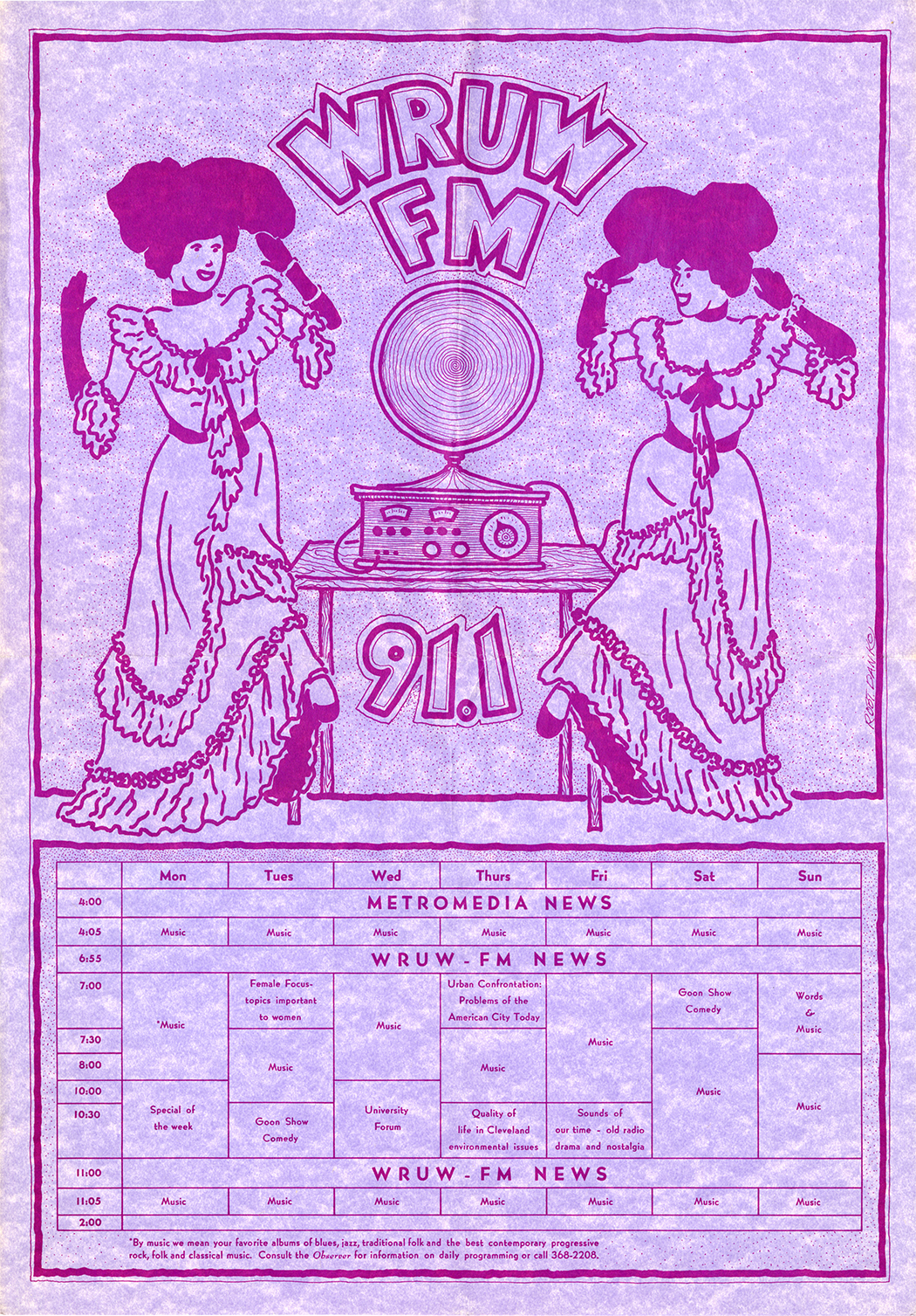 A purple and pink WRUW Programming Guide from the early 1970s with schdule and a cartoon image of early 20th century women dancing to a phonograph.