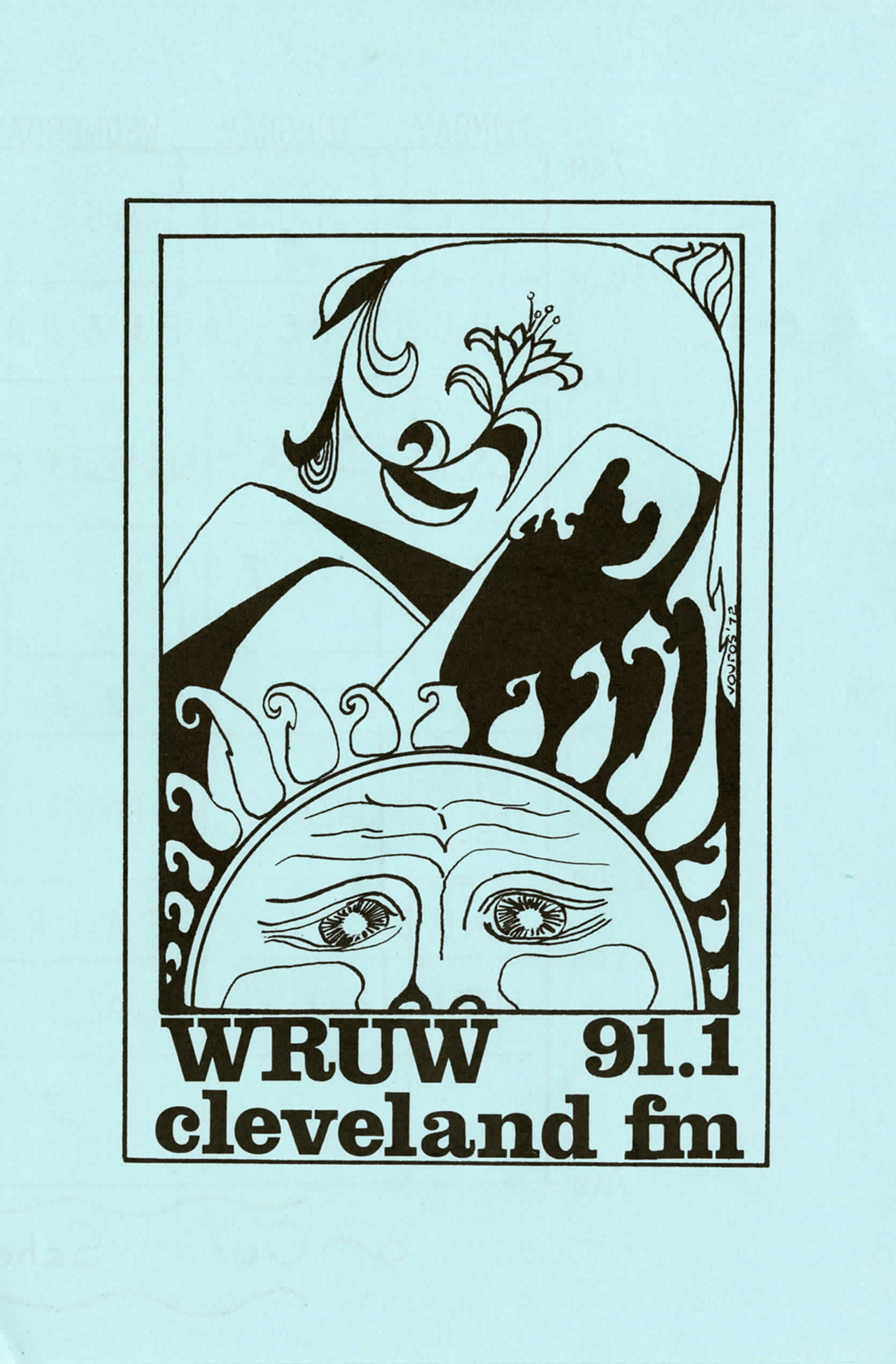 A blue and black paper cover of a WRUW Programming Guide with an illustration of the sun from 1972.