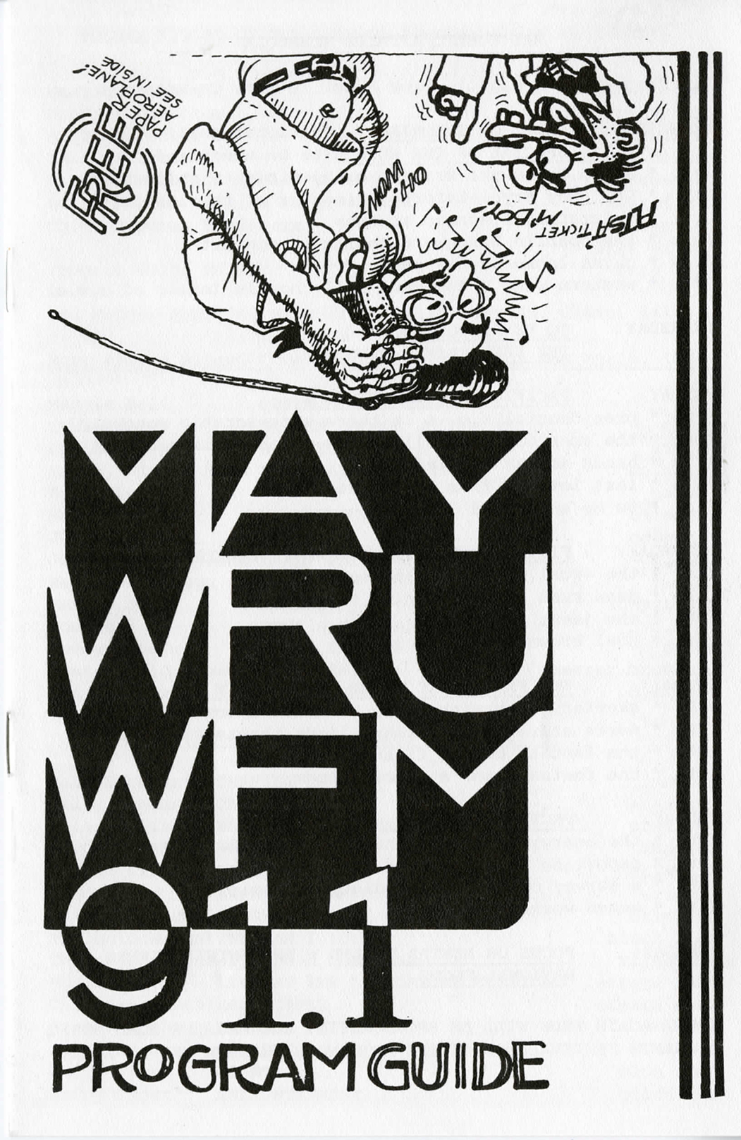 A black and white image of the WRUW Programming Guide from the mid 1970s depicting cartoon images of people with a transistor radio.