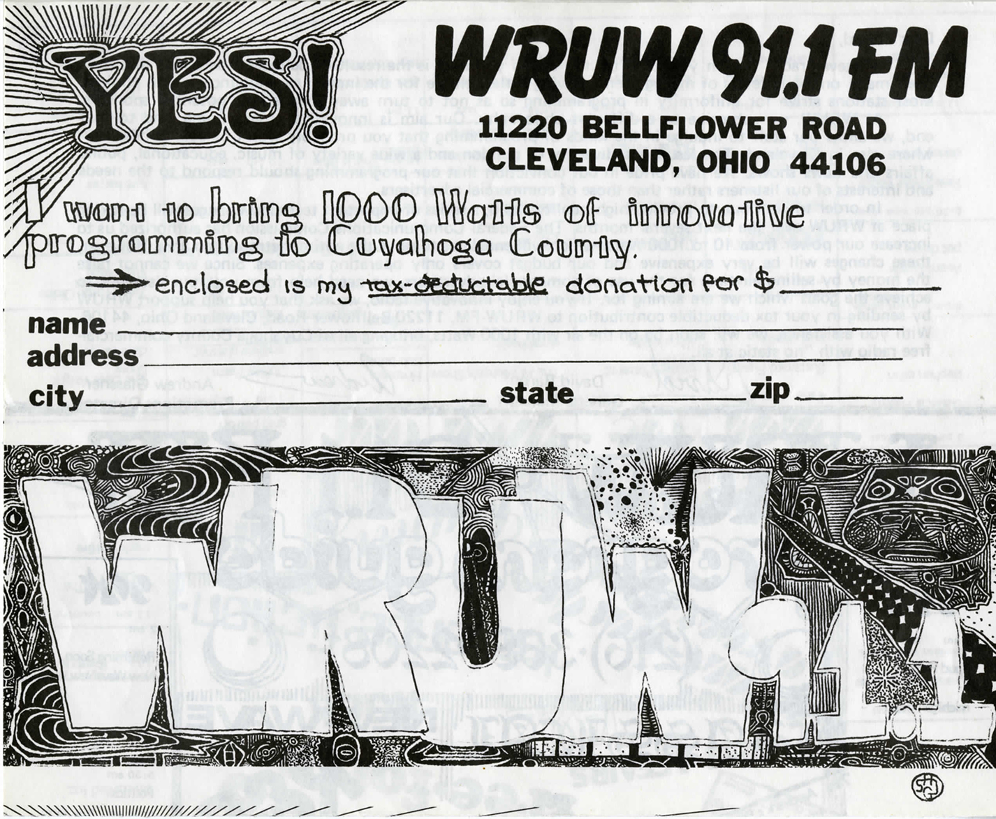A black and white WRUW fund raising postcard from 1981.