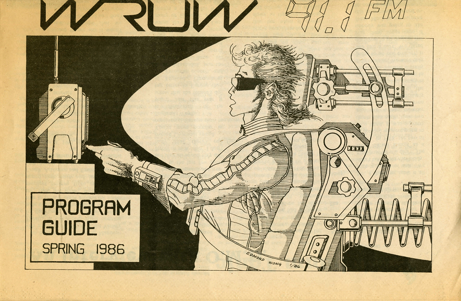 A newsprint cover of WRUW programming guide depicting a cartton illustration of and man sitting with a radio from 1986.n from 1987.