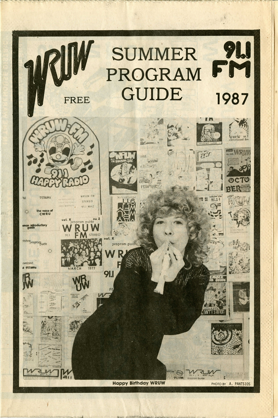 A newsprint cover of WRUW programming guide depicting a woman from 1987.