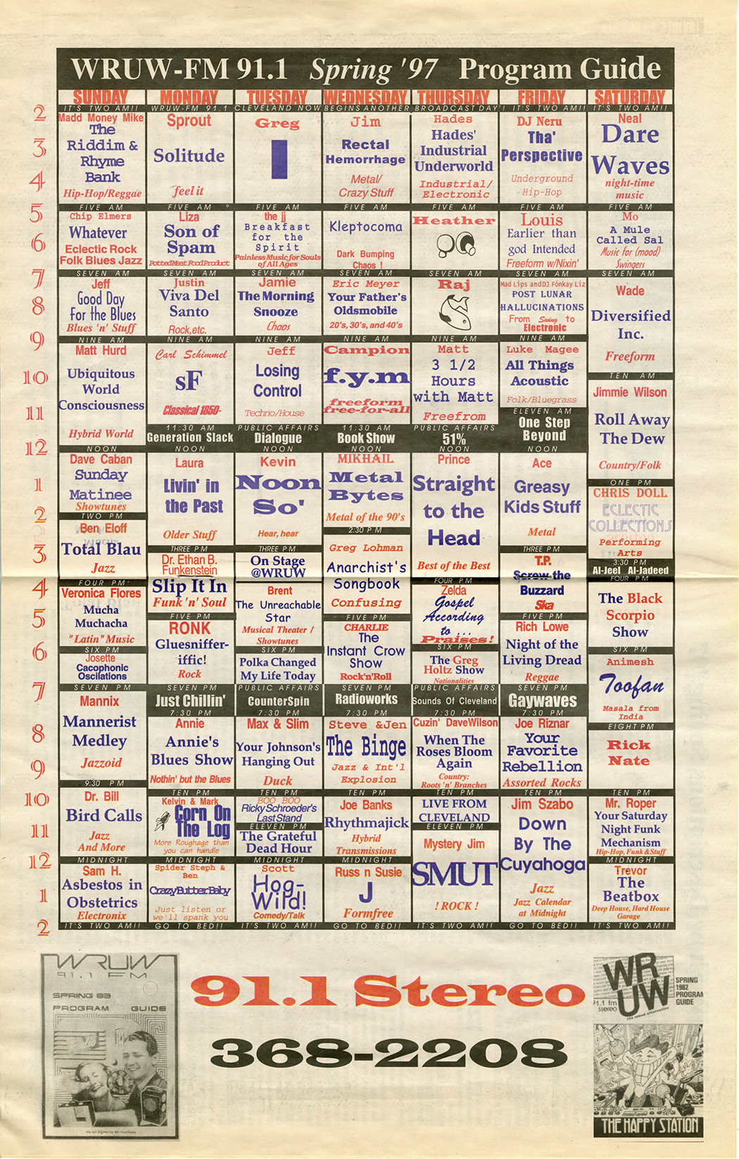 Newsprint chart with WRUW proggramming guide for spring 1997.