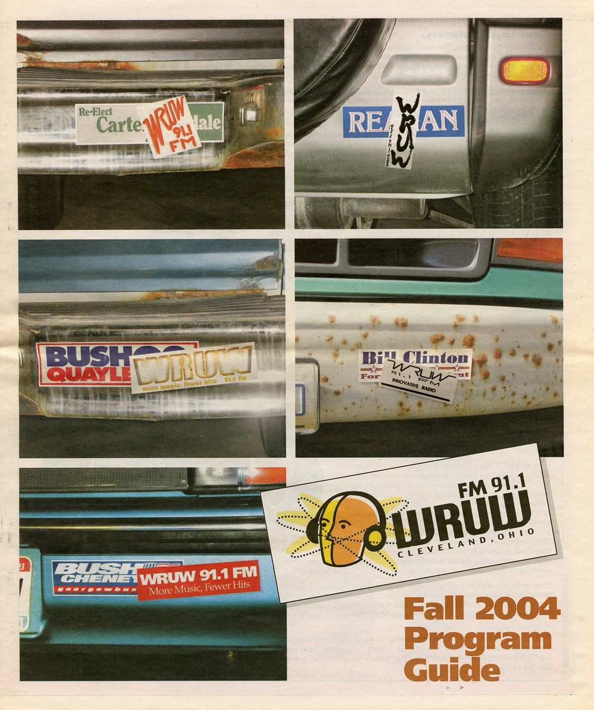 Newsprint cover of WRUW programming guide depicting bumper stickers from fall 2004.