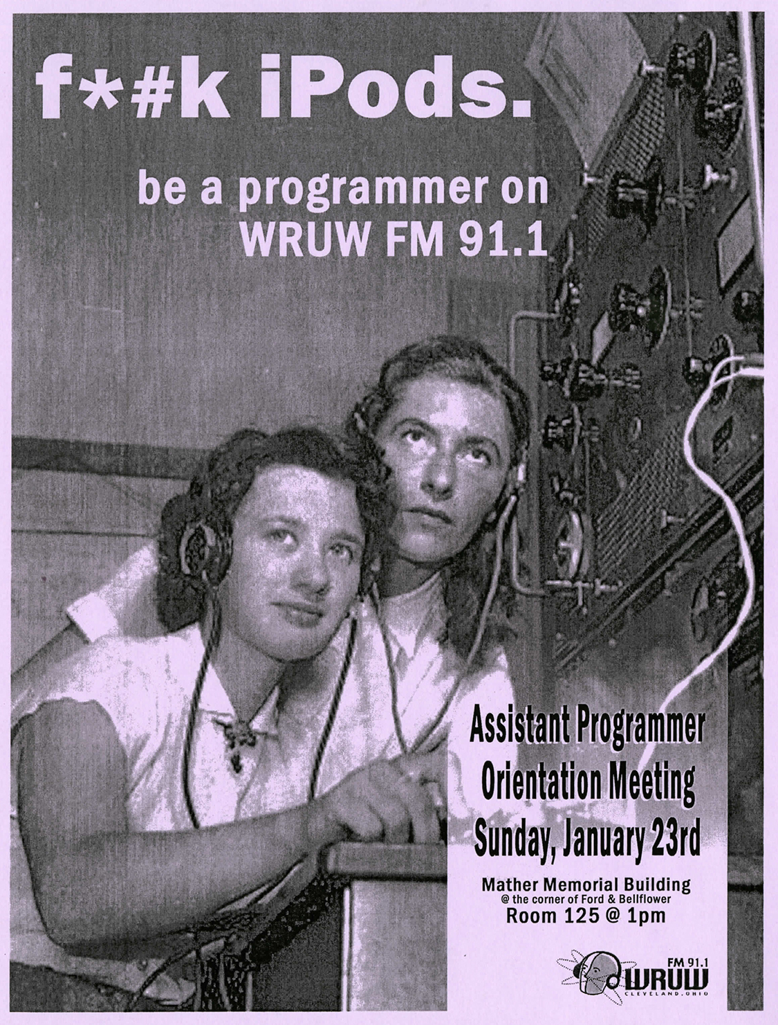 WRUW DJ recruiting poster printed on purple paper.