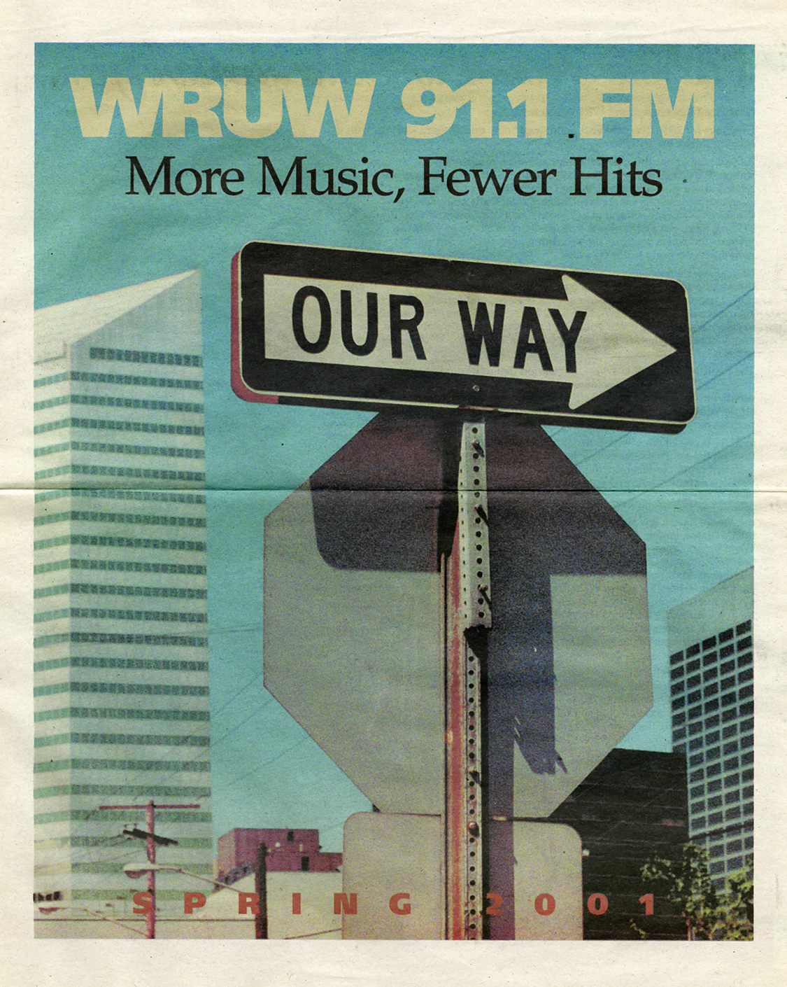 Newsprint cover of WRUW programming guide depicting a wrong way road sign altered to display our way.