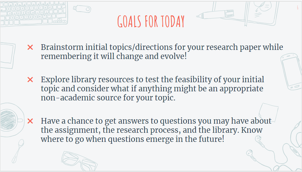Goals for Today, Brainstorm initial topics/directions for your research paper while remembering it will change and evolve!  Explore library resources to test the feasibility of your initial topic and consider what if anything might be an appropriate non-academic source for your topic.  Have a chance to get answers to questions you may have about the assignment, the research process, and the library. Know where to go when questions emerge in the future!