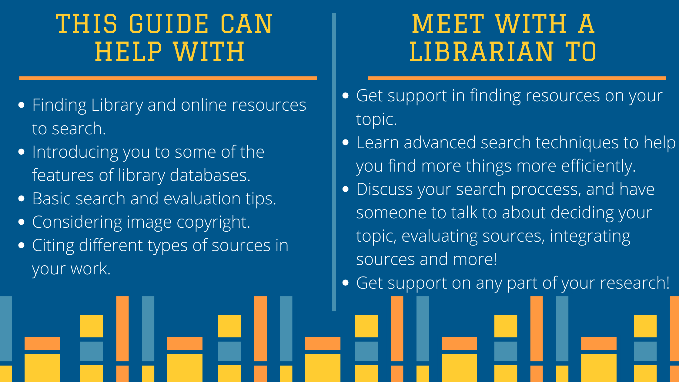 This guide can help with: Finding Library and online resources to search. Introducing you to some of the features of library databases. Basic search and evaluation tips. Considering image copyright. Citing different types of sources in your work. Meet with a librarian to: Get support in finding resources on your topic. Learn advanced search techniques to help you find more things more efficiently. Discuss your search proccess, and have someone to talk to about deciding your topic, evaluating sources, integrating sources and more! Get support on any part of your research!