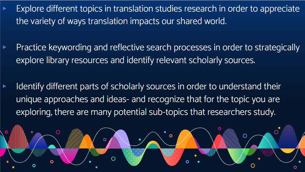 Image showing goals for this class session: Explore different topics in translation studies research in order to appreciate the variety of ways translation impacts our shared world.  Practice keywording and reflective search processes in order to strategically explore library resources and identify relevant scholarly sources.  Identify different parts of scholarly sources in order to understand their unique approaches and ideas- and recognize that for the topic you are exploring, there are many potential sub-topics that researchers study.