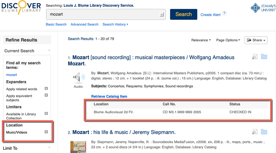"image from a Discover search for ""Mozart"" with the limit on Location to Music/Videos"