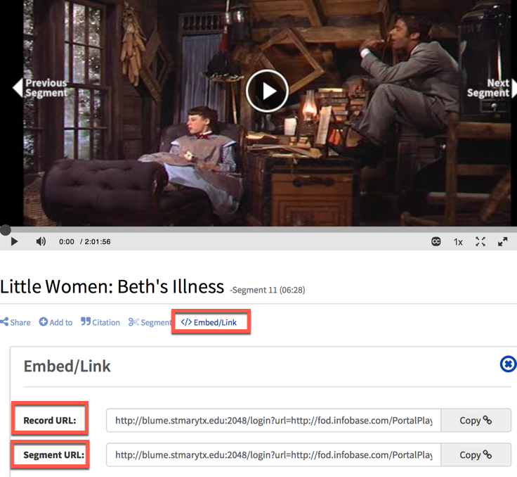 image from Films on Demand showing how to find persistent links under Embed/Link