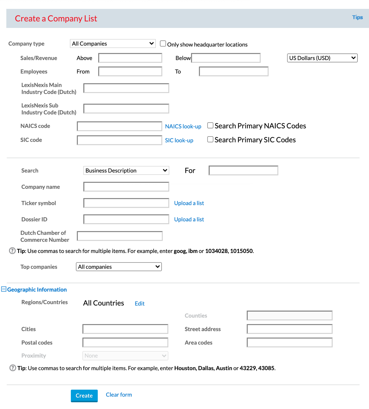 Nexis Uni Create a Company List form