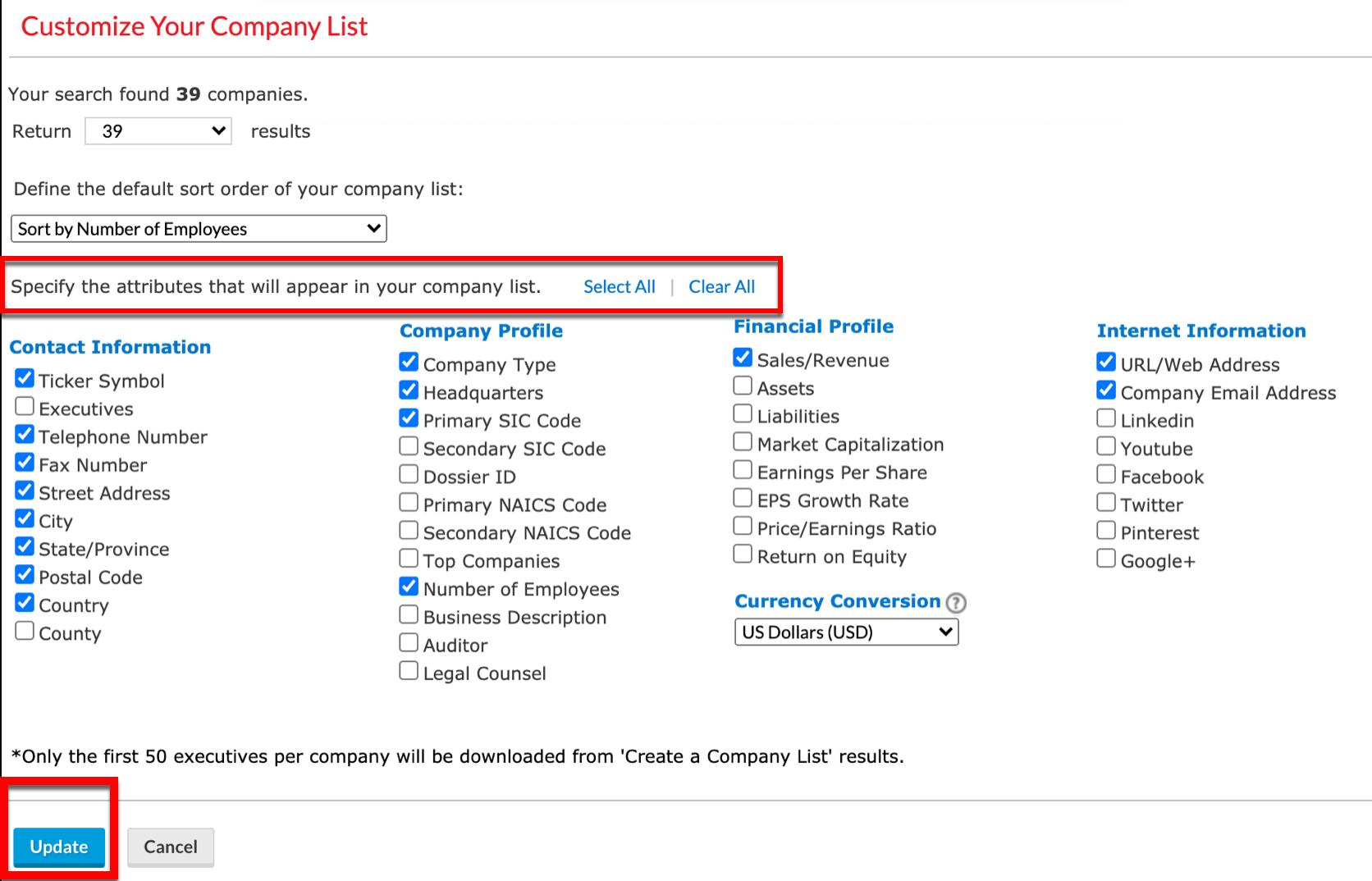 Nexis Uni Customize Your Company List screen