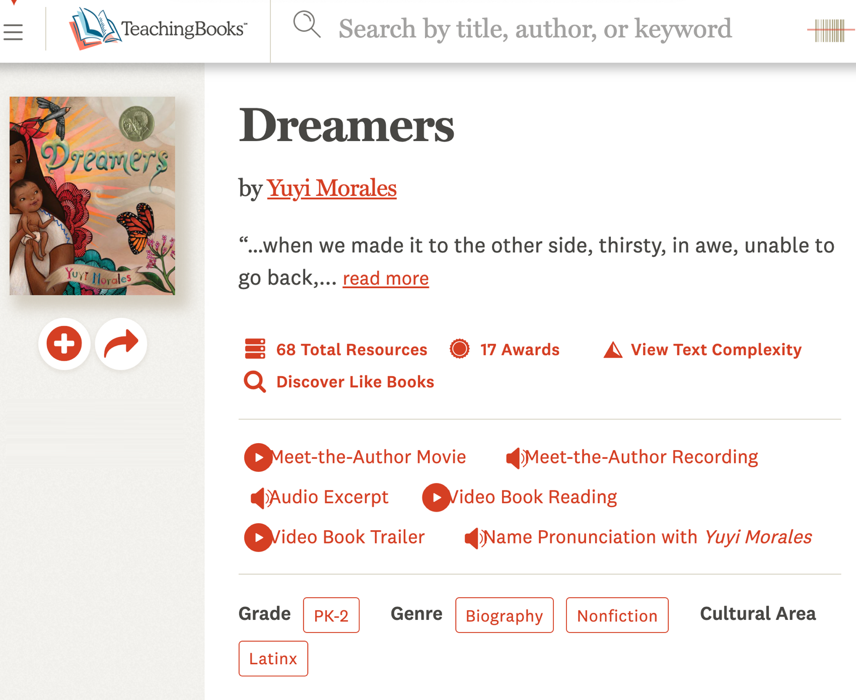 entry in TeachingBooks.net for Dreamers by Yuyi Morales