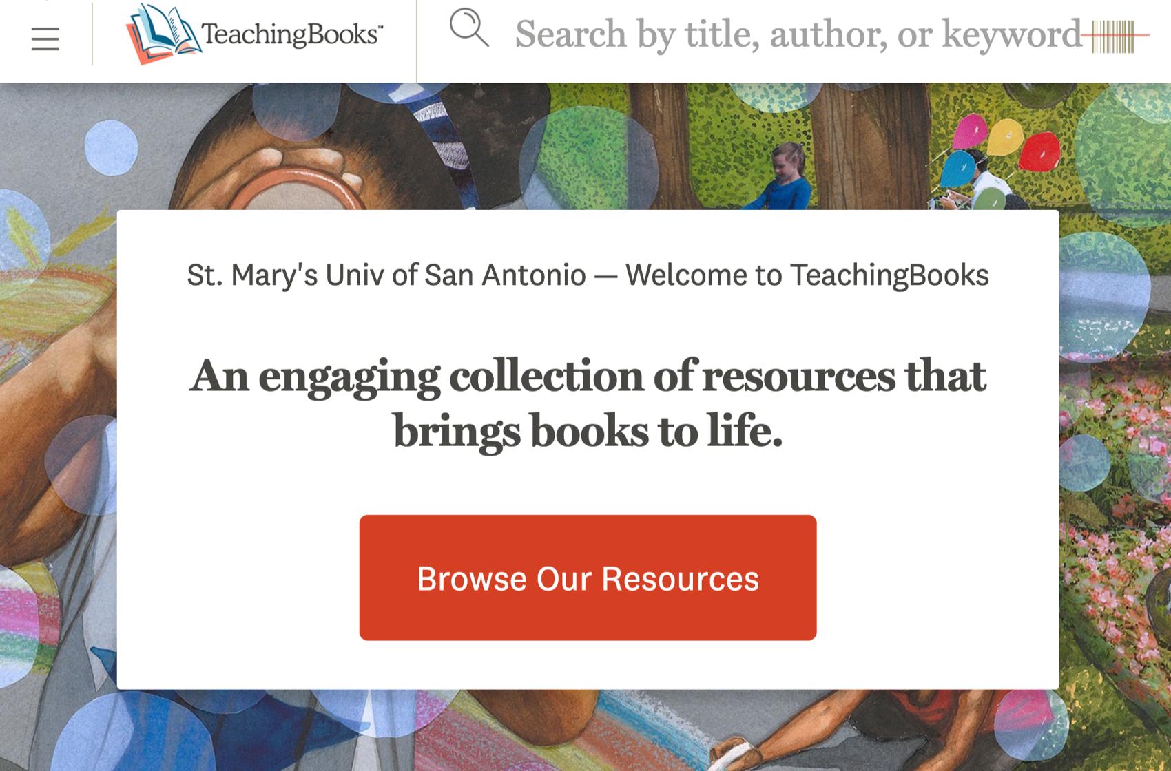 image of the TeachingBooks.net homepage