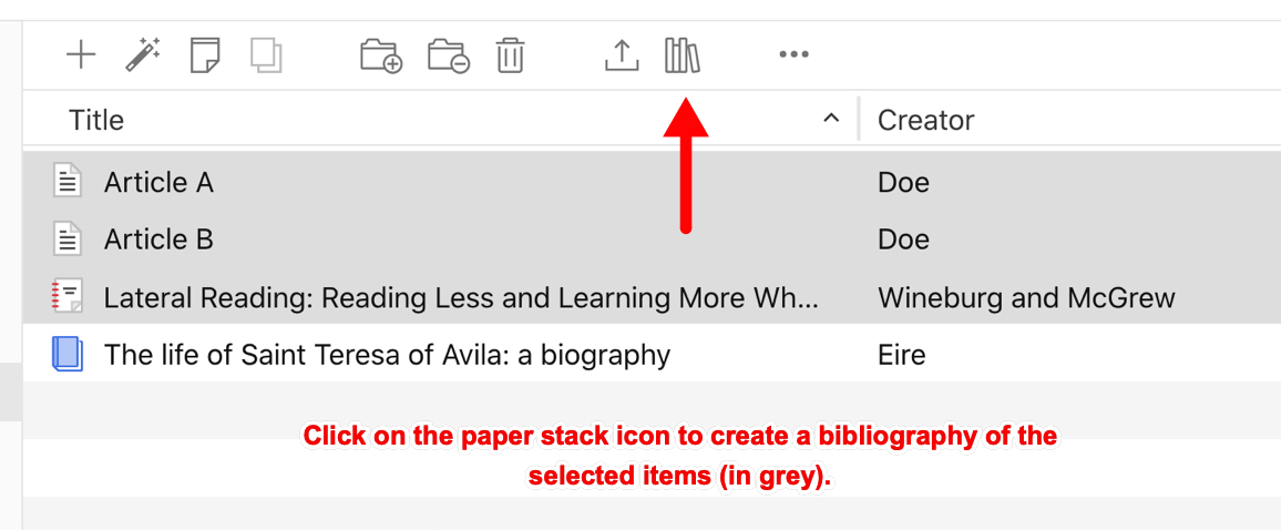 Zotero online library, shows paper stack icon to manually copy of bibliography from selected items