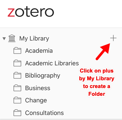 Zotero online library image showing how to get the plus icon My Library, to add a folder