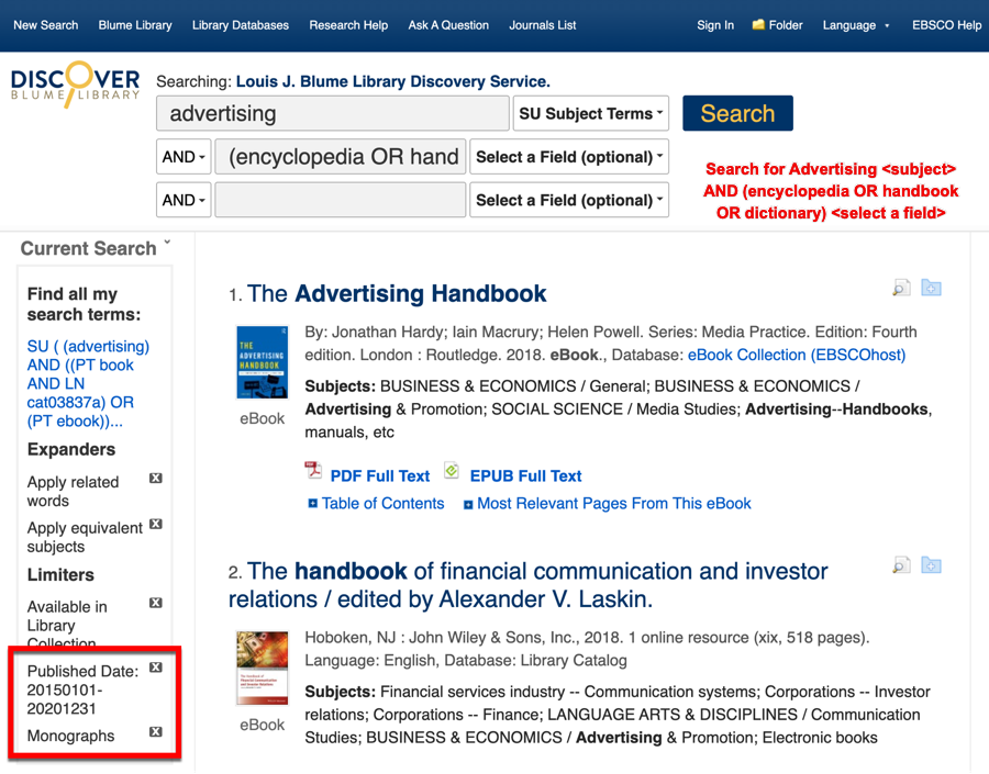 Search example in Discover: advertising <subject> AND (encyclopedia OR handbook OR dictionary) <select a field>
