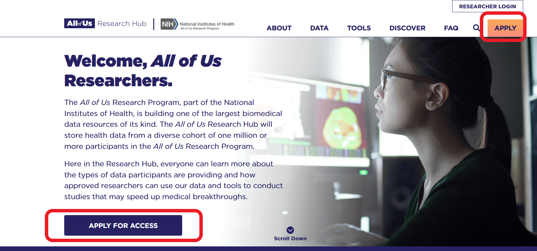 Homepage of the All of Us Research Hub with apply for access button circled.
