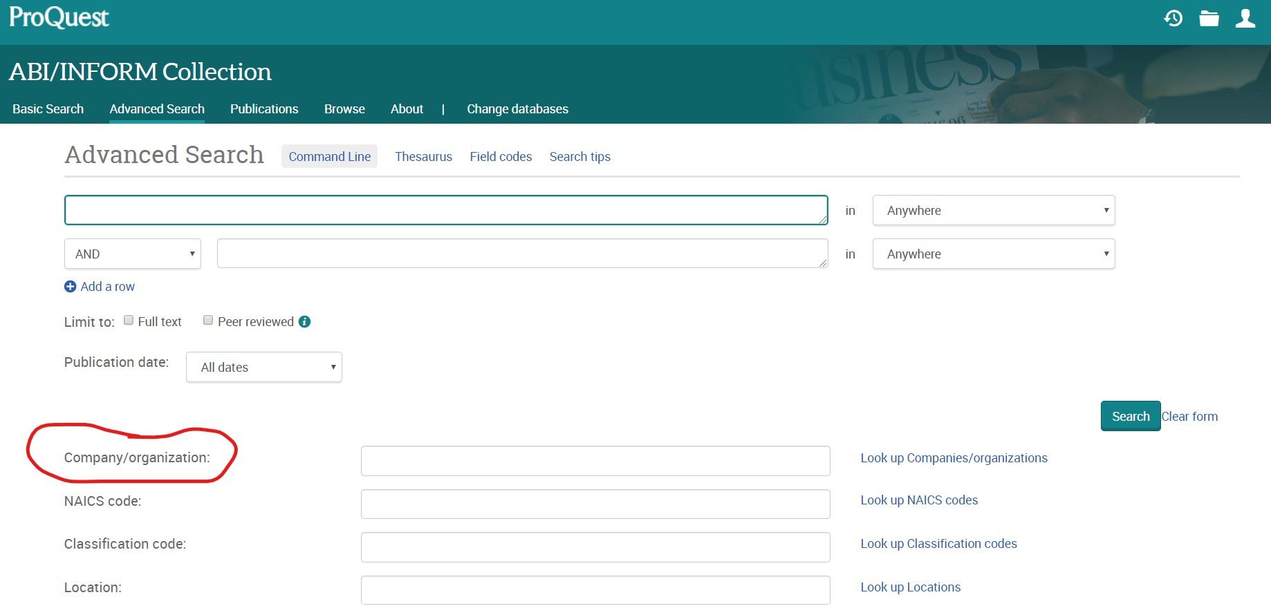 ABI/Inform company search
