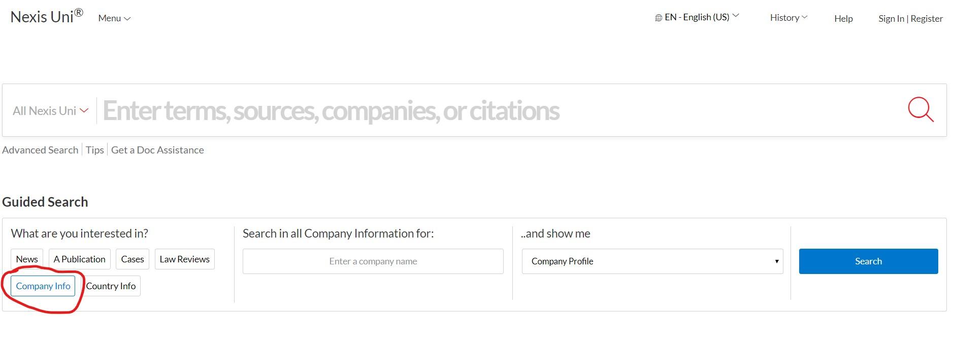 Nexis company search