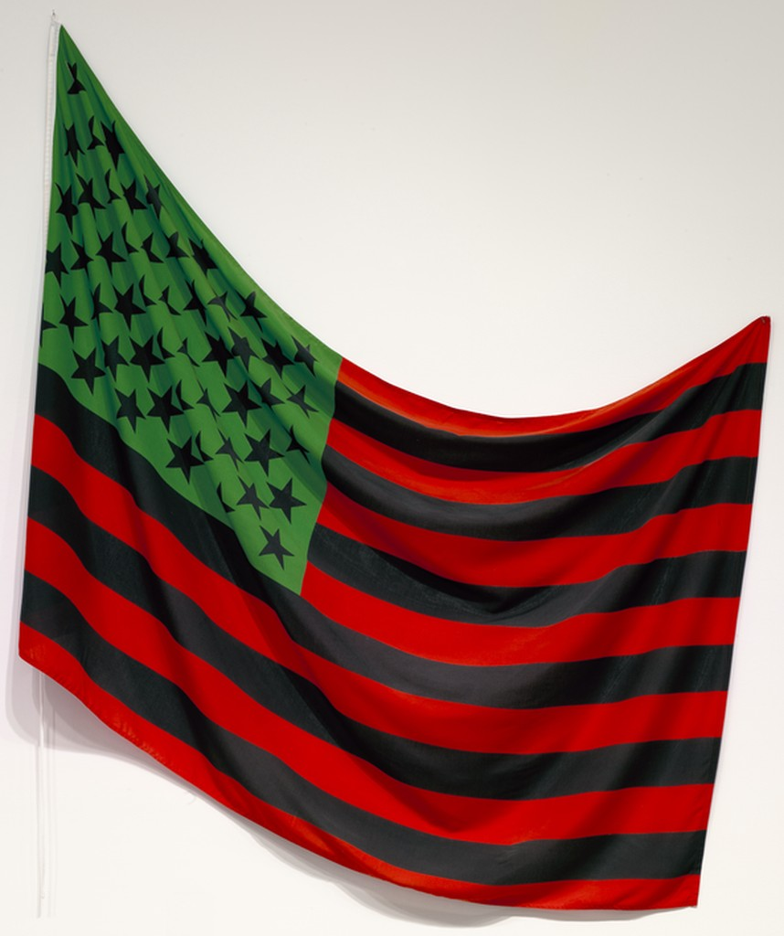 American flag dyed with red, black, and green