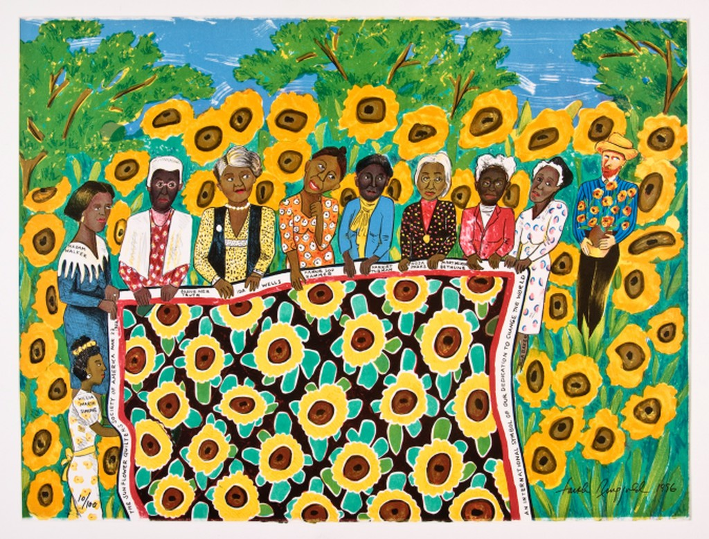 Lithograph of nine black women holding a quilt decorated with sunflowers and a bearded man standing in the background.