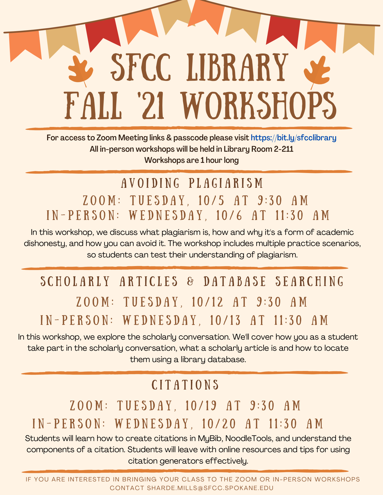 See ADA accessible transcript below for SFCC Library Fall '21 Workshops