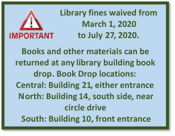 Library Fines Waived through July 27, 2020