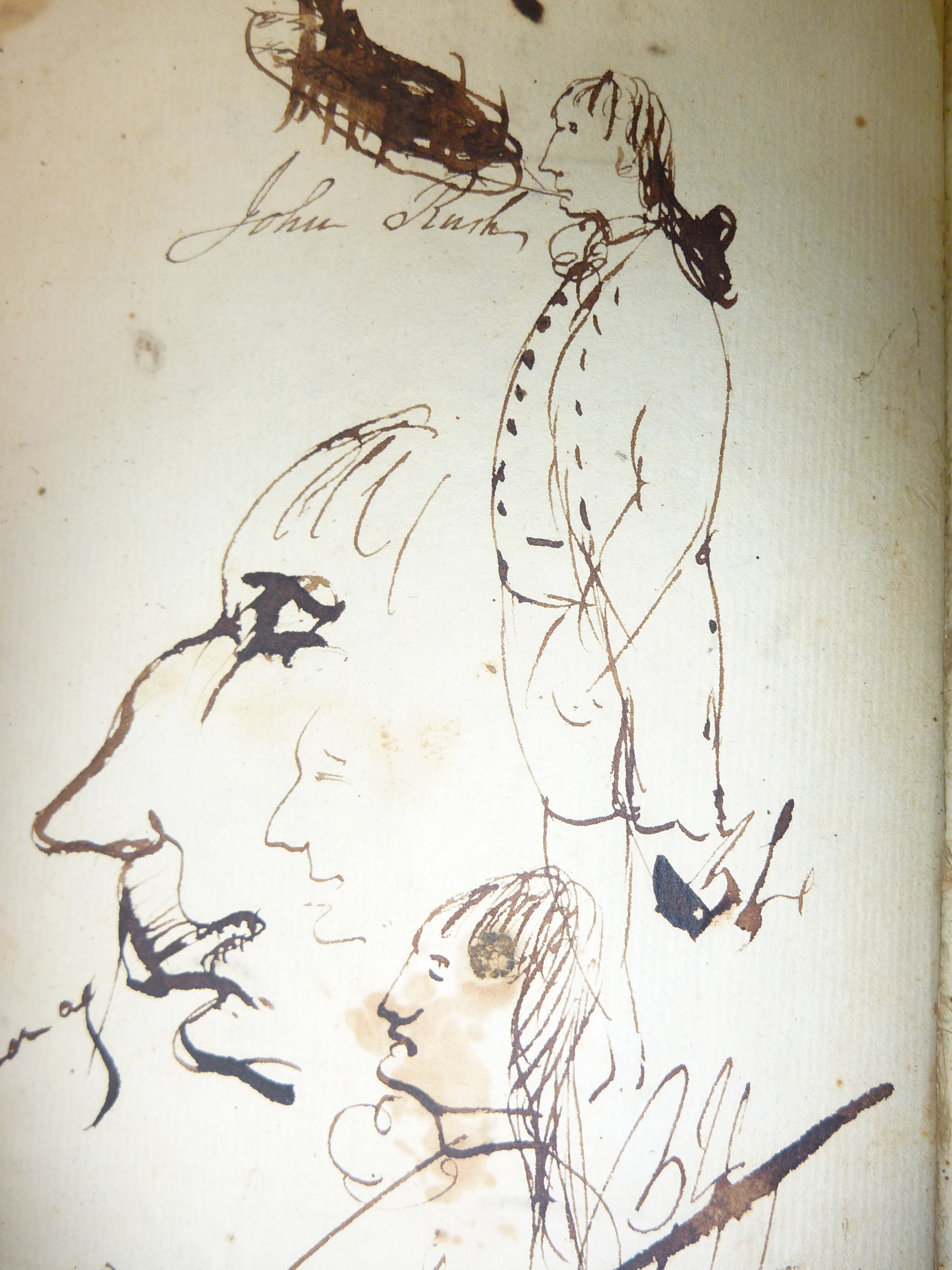 Only known drawing of John Rush in uniform; Drawn by Benjamin Rush
