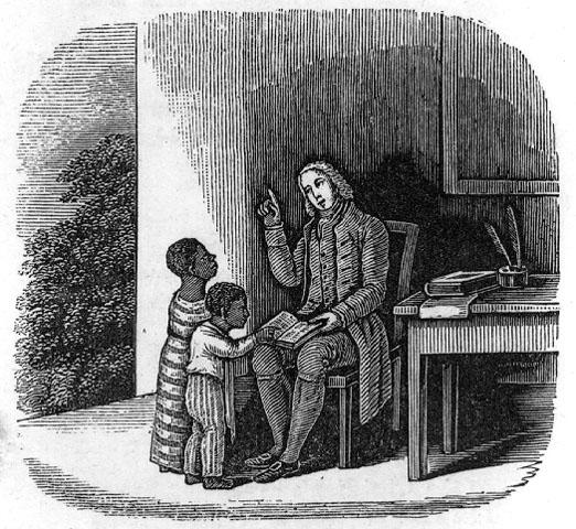 Drawing of Anthony Benezet teaching black children