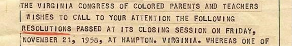 excerpt from 1958 telegram related to a 1958 resolution