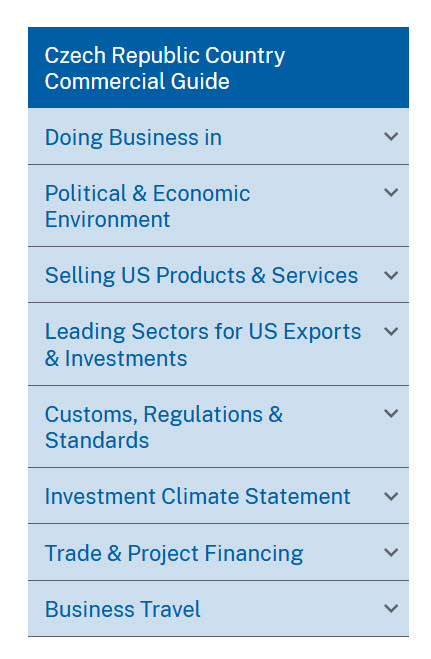 Country Commercial Guides Table of Contents