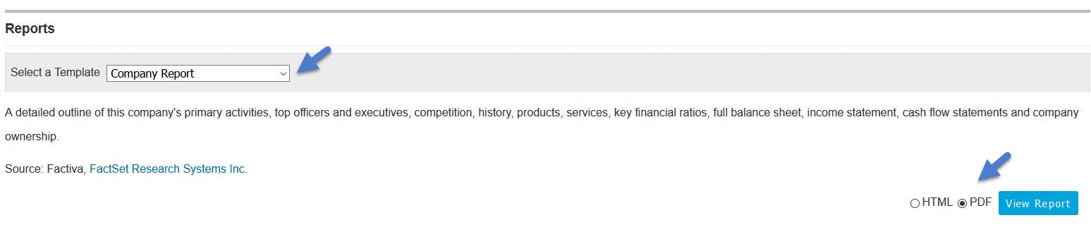 Factiva Company Report Options