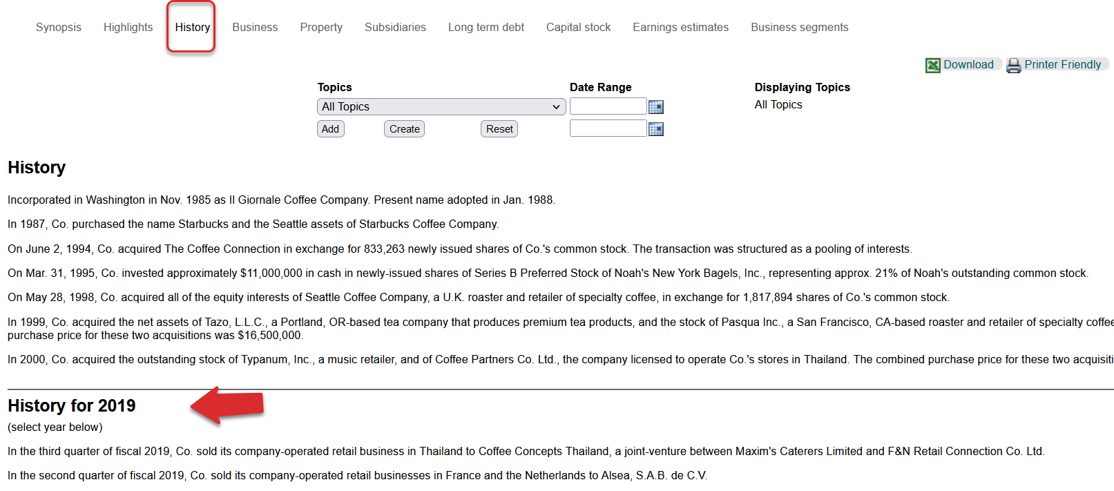 Company History page in Mergent