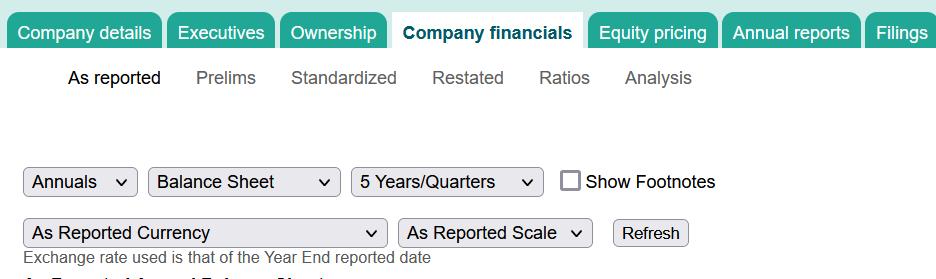 Company Financials in Mergent
