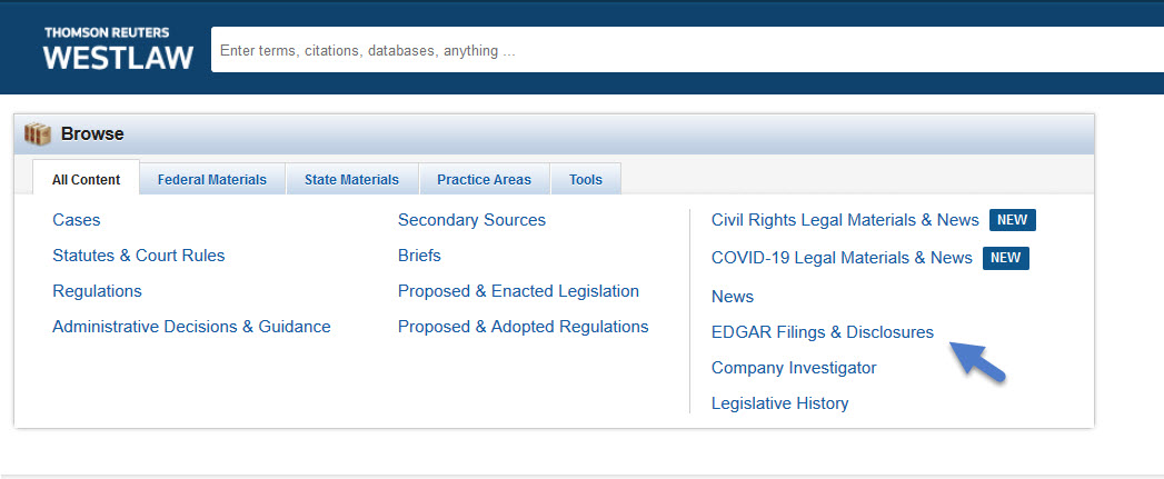 WestLaw Home Page