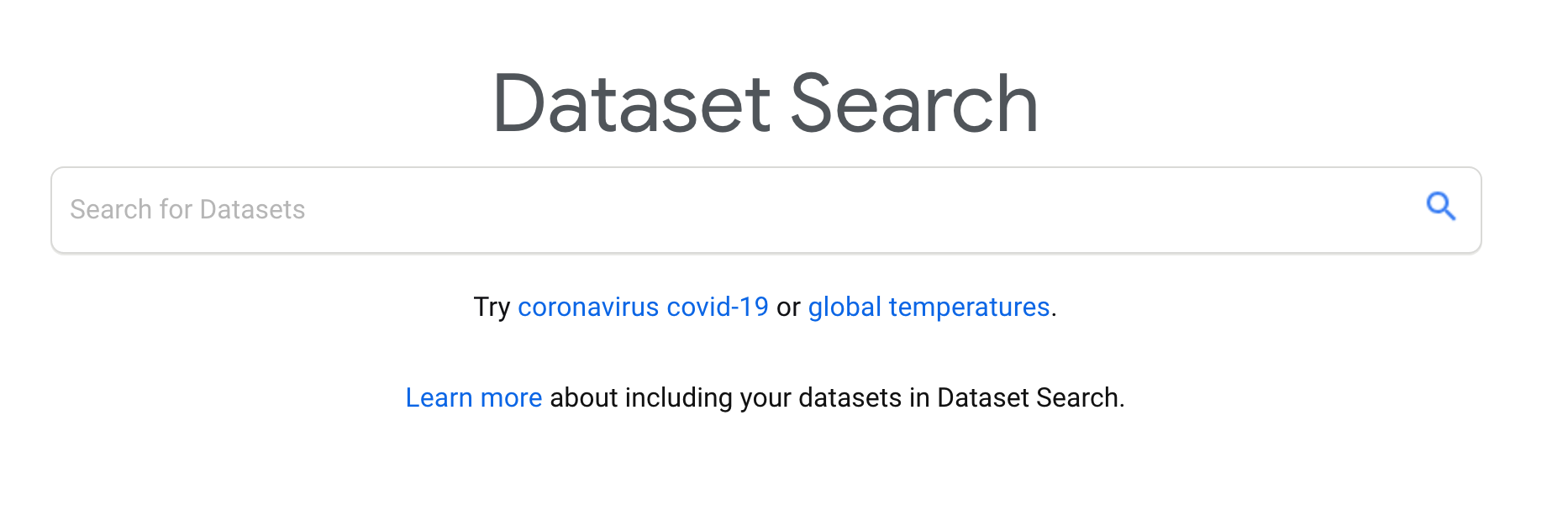 screenshot of the search bar for Google Dataset Search