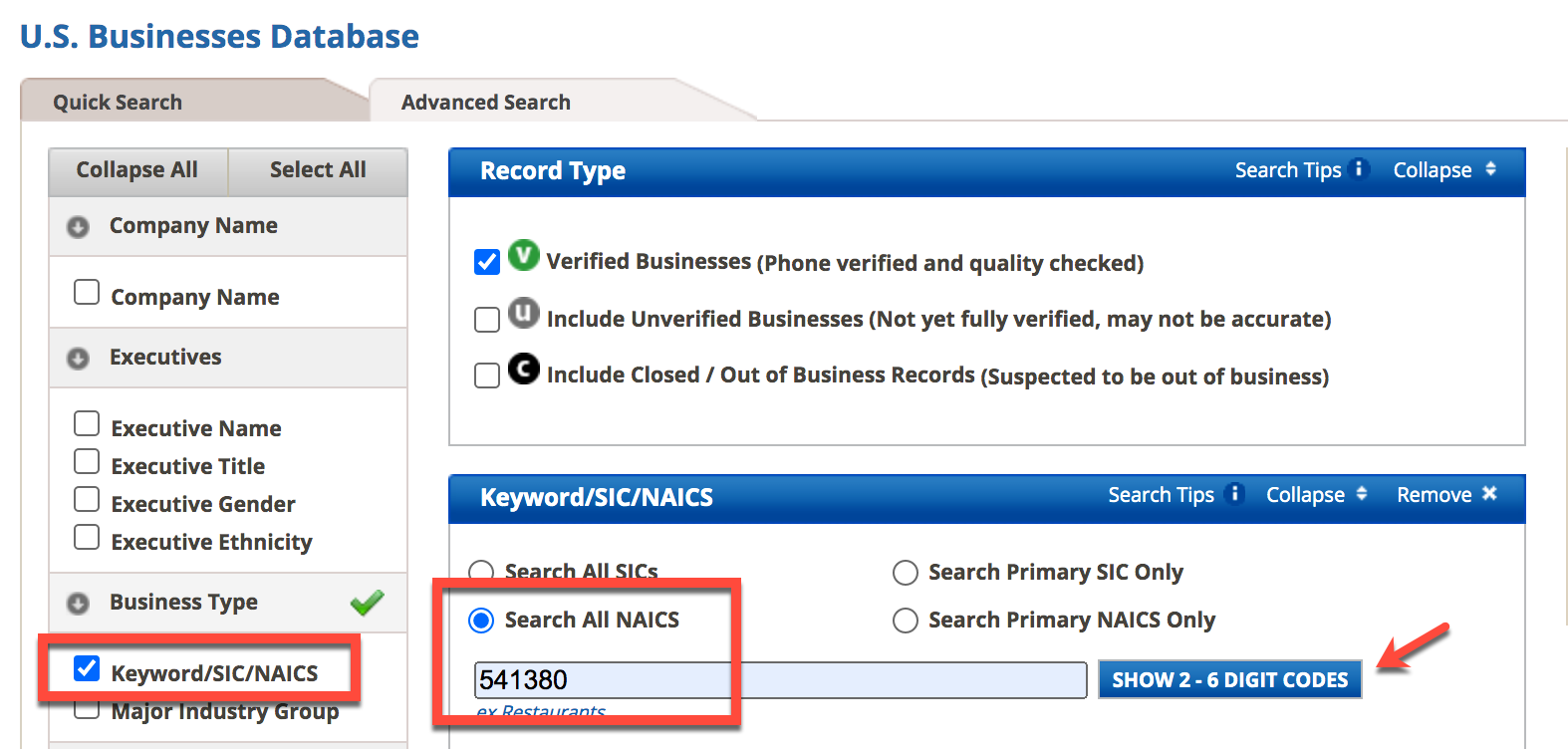 Image of U.S. Businesses Database search with Keyword/NAICS selection