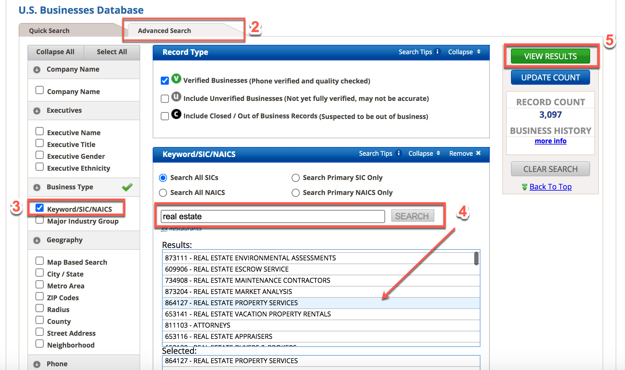 Screenshot showing steps 2 to 5 on the Reference USA database
