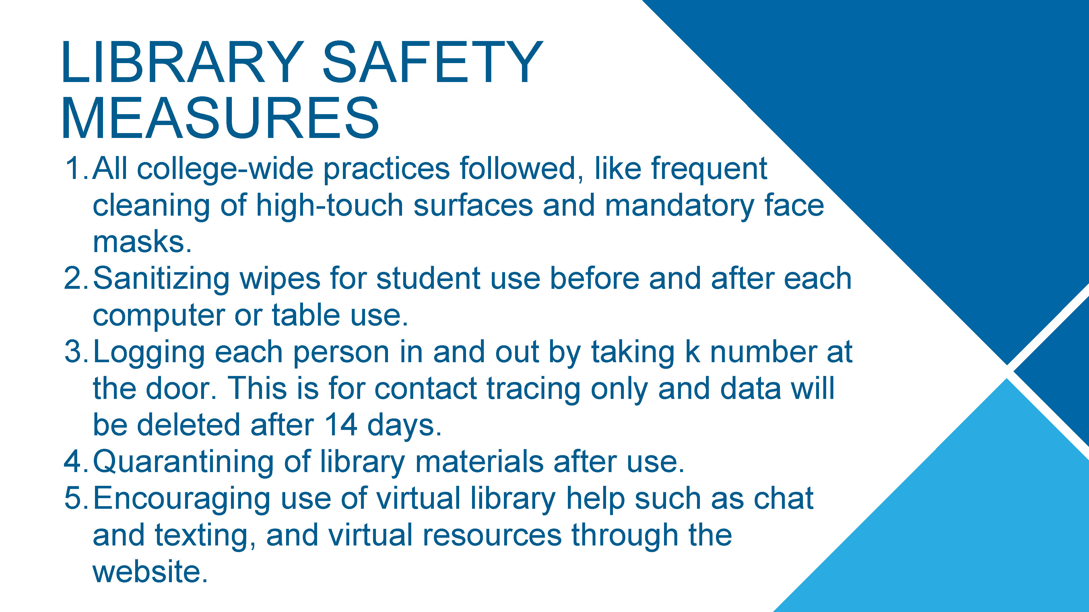 Library Safety Measures