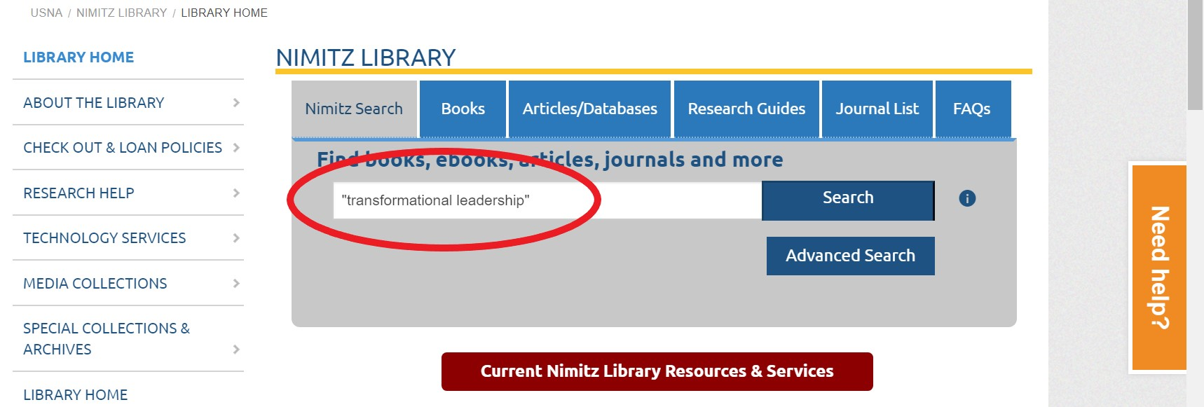library homepage with a circle around the default search box, nimitz search.