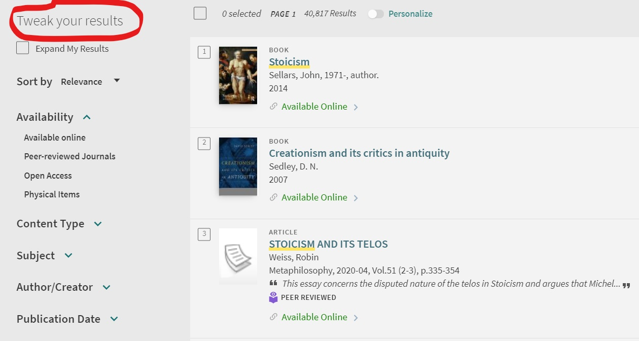 Screenshot with Nimitz Search results for stoicism.