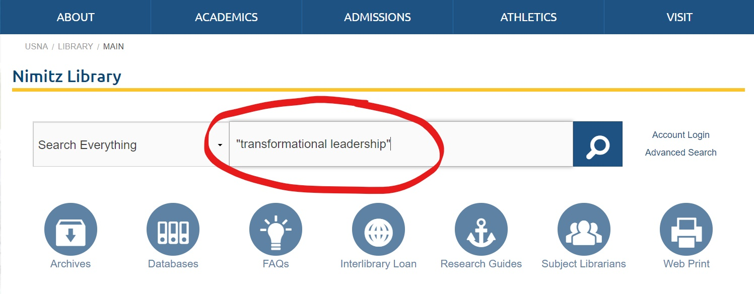 Screenshot of Nimitz Library homepage, with the search term transformation leadership in the main search box.