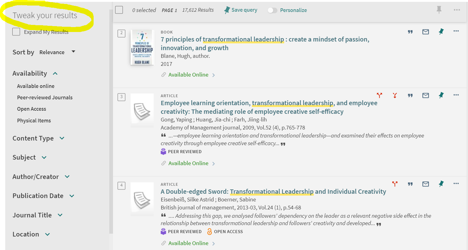Screenshot with Nimitz Search results for transformational leadership.