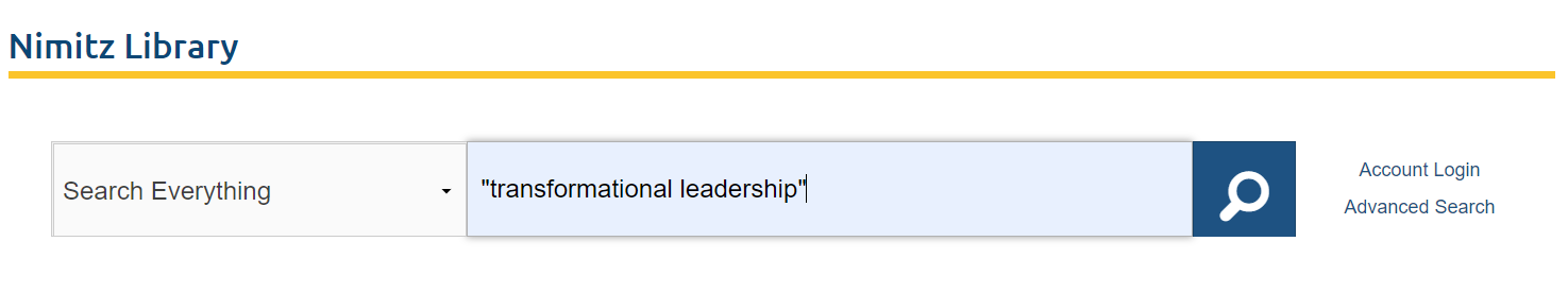 Screenshot of Nimitz Search box with transformational leadership entered as the search phrase.