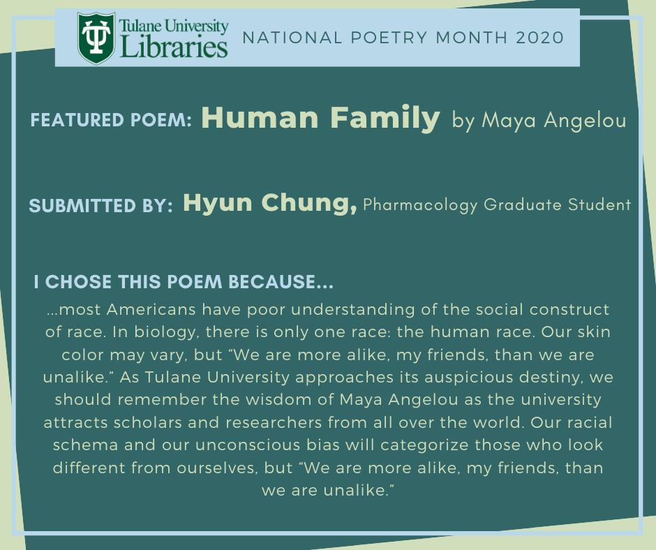 "Maya Angelou's ""Human Family"""
