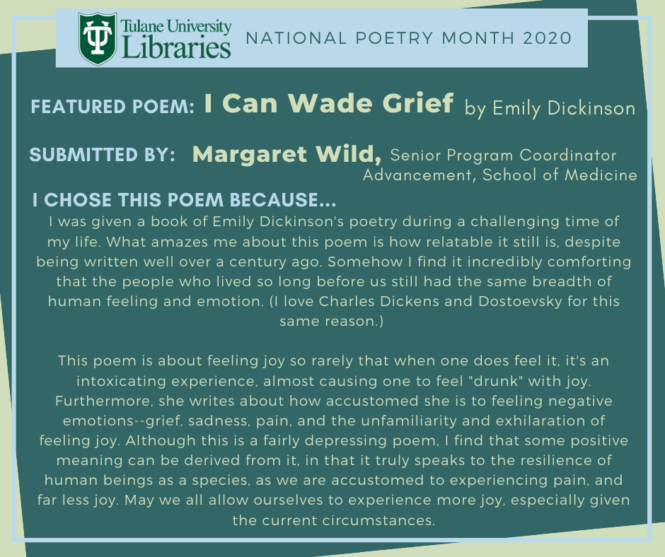 Emily Dickinson's I Can Wade Grief